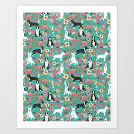 Bull Terrier dog breed pattern florals dog lover gifts pet friendly designs Art Print