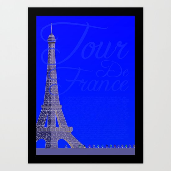 Tour De France Eiffel Tower Art Print