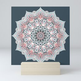 Expansion - boho mandala in soft salmon pink & blue Mini Art Print