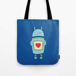 Blue Cartoon Robot With Heart Tote Bag