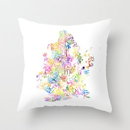 Typographic Brooklyn - Multi Color Watercolor map art Throw Pillow