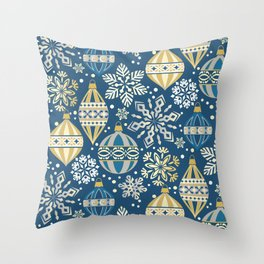 Christmas Ornaments and Snow Throw Pillow