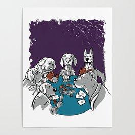 Dogs Playing Poker Gambling Poster