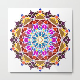 Mandala Flower Pattern Design Metal Print