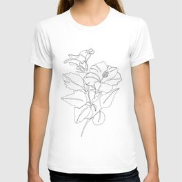 Floral one line drawing - Hibiscus T-shirt