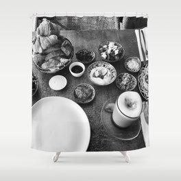 Israeli Breakfast Travel Photo with Coffee Shower Curtain