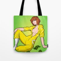 neil gaiman Tote Bags featuring April O' Neil Unzipped by RAD Pencils