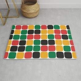 Squircle Pattern (Rasta Colours) Rug