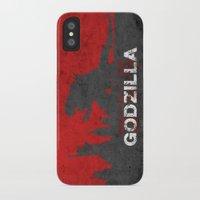 godzilla iPhone & iPod Cases featuring Godzilla by WatercolorGirlArt