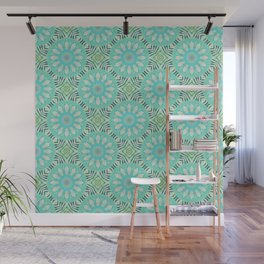 Cream And Turquoise Flowers Wall Mural