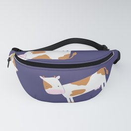 Brown Cow - Dark Blue Background Fanny Pack