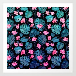 Modern Neon Pink Blue Green Tropical Floral Illustration Art Print