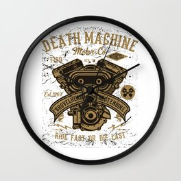 Death Machine Motor Co Motorcycle Shop Wall Clock