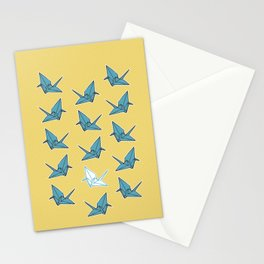 PAPER CRANES BABY BLUE AND YELLOW Stationery Cards