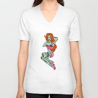 pinup V-neck T-shirts featuring Zombie Pinup by Jade Boylan