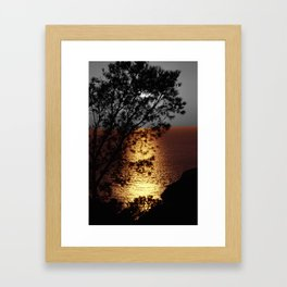 Gold silver sunset black and white with color Framed Art Print