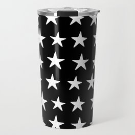 Star Pattern White On Black Travel Mug