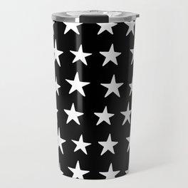 Star Pattern White On Black Travel Mug