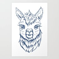 alpaca Art Prints featuring Alpaca by Jess Moore