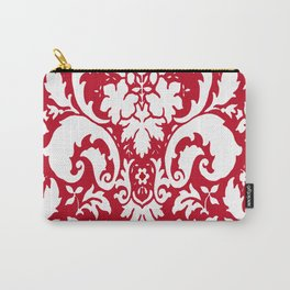 Paisley Damask Red and White Pattern Carry-All Pouch