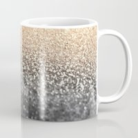 black and gold Mugs featuring GOLD BLACK by Monika Strigel®