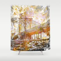 brooklyn bridge Shower Curtains featuring Brooklyn Bridge by LebensART