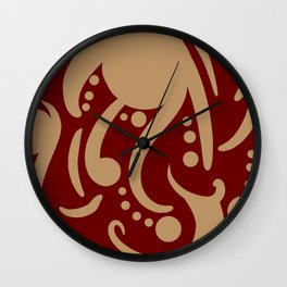 A Moderate Abstraction: Red and Tan Wall Clock