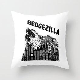 black hedgezilla hedgehog hedgehog skyline big sweet Throw Pillow