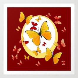 RED & YELLOW BUTTERFLIES &  YELLOW RING BURGUNDY ABSTRACT ART Art Print