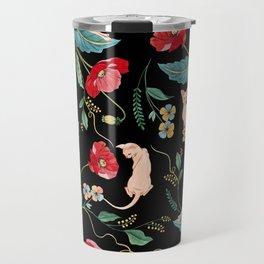 Ramona Poppy Black Travel Mug