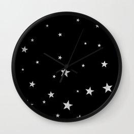 Silver Stars Wall Clock