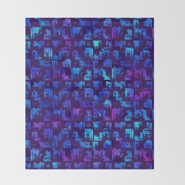 Blue Watercolor plaid Throw Blanket