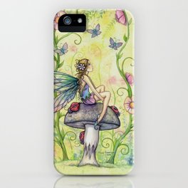 A Happy Place Flower Fairy Fantasy Art by Molly Harrison iPhone Case