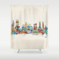 san diego Shower Curtains featuring San Diego California skyline by bri.buckley