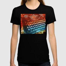 Typewriter Blue Red PopArt T-shirt