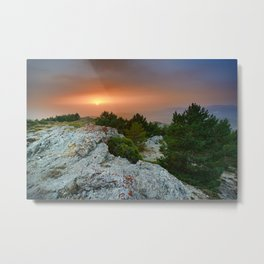 Sunset at the mountains. Under the rain Metal Print