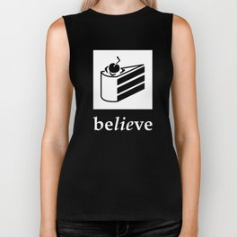 Believe in the Cake (white text) Biker Tank