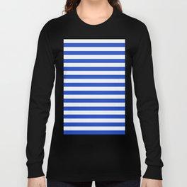Royal Blue And White Stripes Long Sleeve T-shirt
