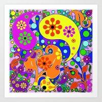 Colorful Retro Paisleys And Flowers Art Print