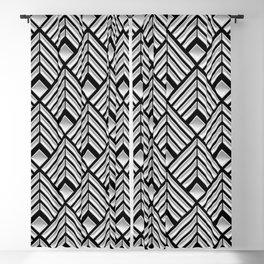 3-D Art Deco Silver Egyptian Pattern Blackout Curtain