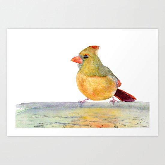 Robin , Yellow Bird, Watercolor painting by Suisai Genki Art Print