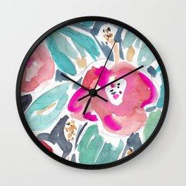 Peach Hibiscus Wall Clock