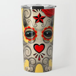 Red Day of the Dead Sugar Skull Baby Octopus Travel Mug