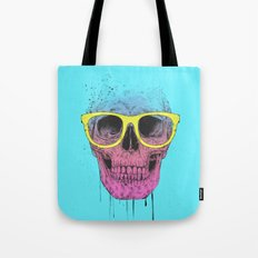Pop art skull with glasses Tote Bag