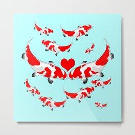 Koi Fish Kisses Metal Print
