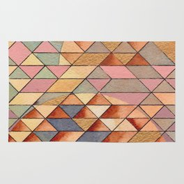 Triangles Circles Golden Sun Rug