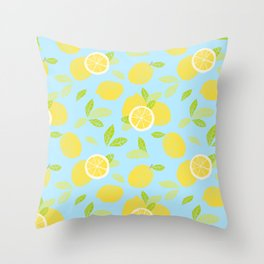 Bright And Sunny And Stamped Lemon Citrus Pattern Throw Pillow
