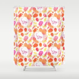 Beautiful Australian Print - Australian Native Florals with Possum Illustrations Shower Curtain