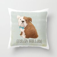 english bulldog Throw Pillows featuring Bulldog by 52 Dogs