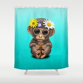 Cute Baby Monkey Hippie Shower Curtain